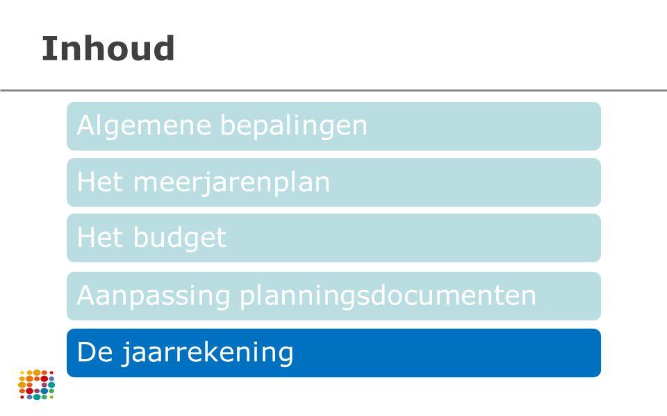 Inhoud Algemene bepalingen Het meerjarenplan Het budget