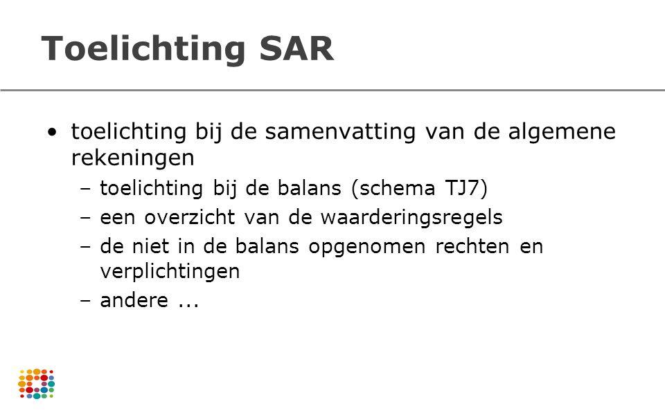 Toelichting SAR toelichting bij de samenvatting van de algemene rekeningen. toelichting bij de balans (schema TJ7)