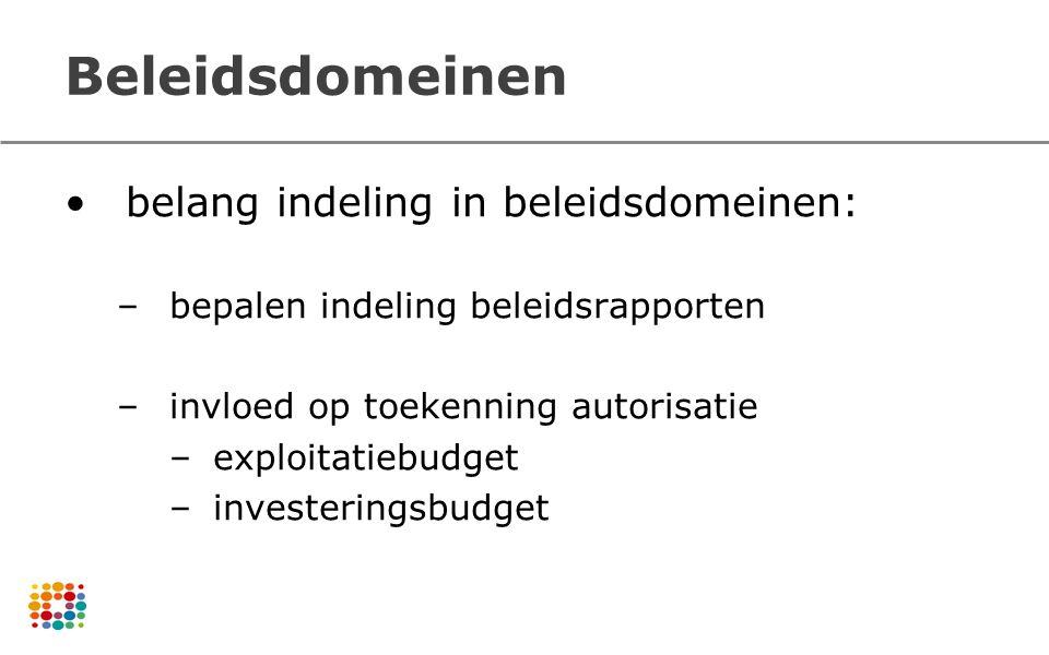 Beleidsdomeinen belang indeling in beleidsdomeinen: