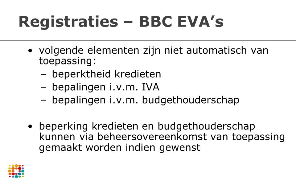 Registraties – BBC EVA's