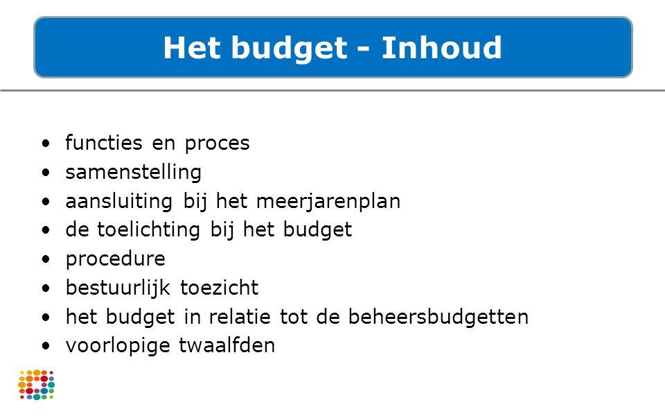Het budget - Inhoud functies en proces samenstelling