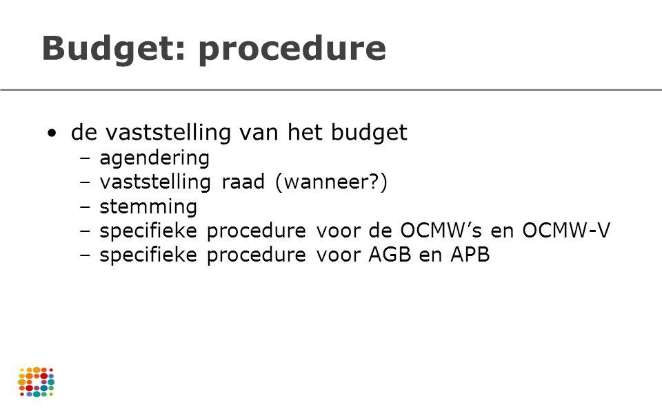 Budget: procedure de vaststelling van het budget agendering