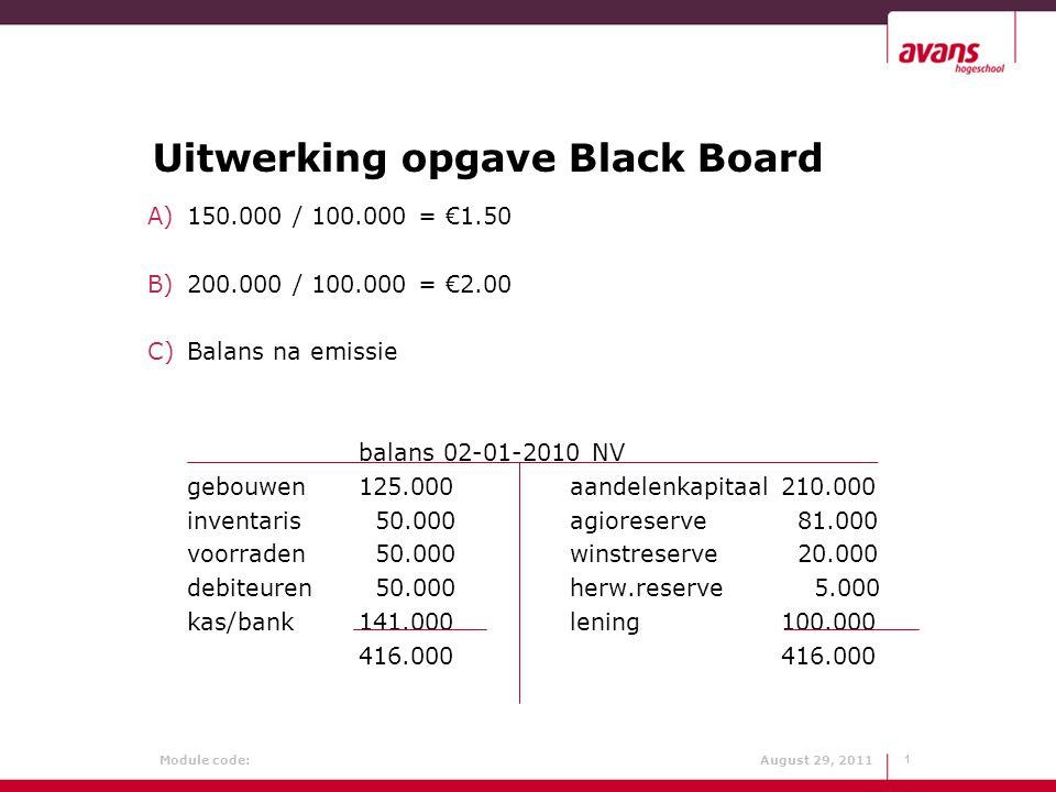 Uitwerking opgave Black Board