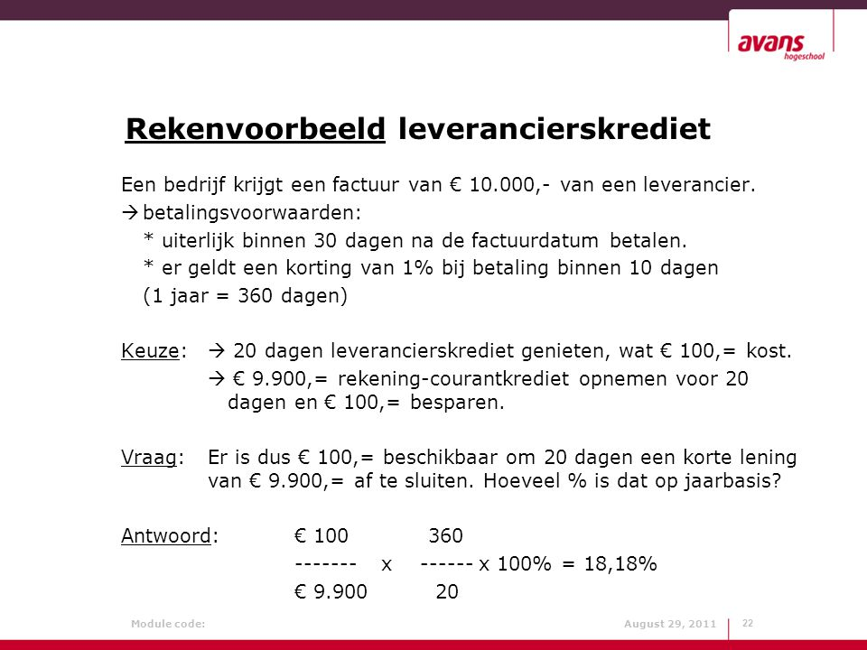 Rekenvoorbeeld leverancierskrediet