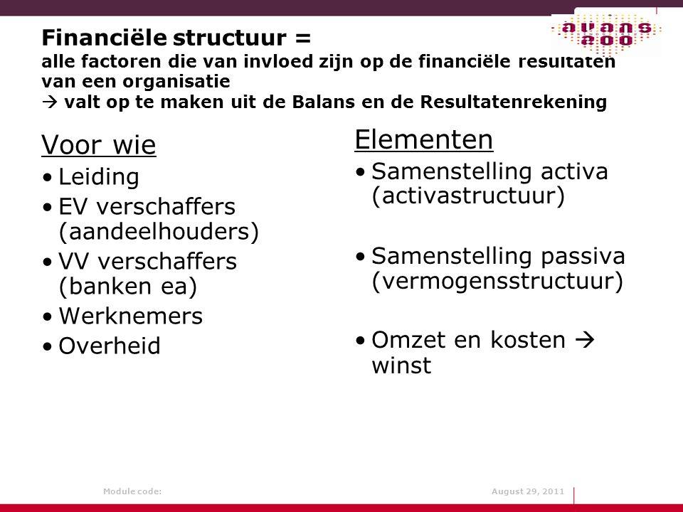 Elementen Voor wie Samenstelling activa (activastructuur) Leiding