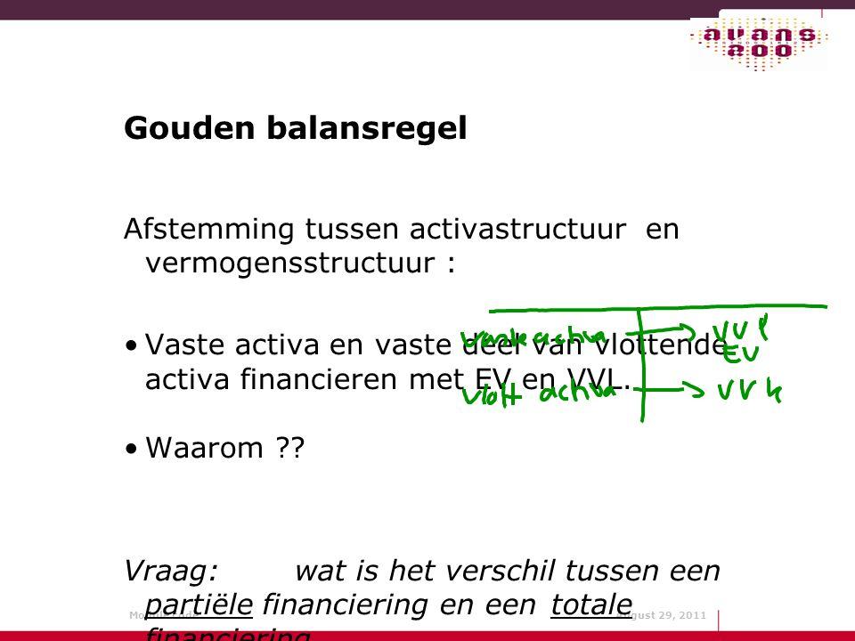 Gouden balansregel Afstemming tussen activastructuur en vermogensstructuur :