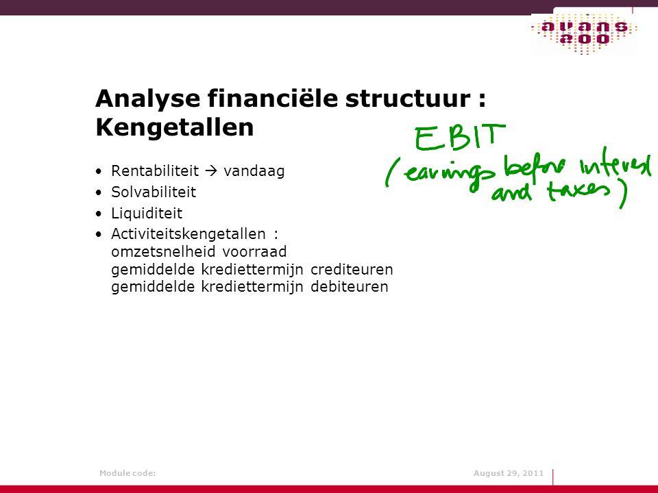 Analyse financiële structuur : Kengetallen