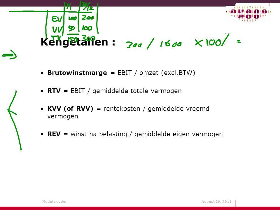 Kengetallen : Brutowinstmarge = EBIT / omzet (excl.BTW)