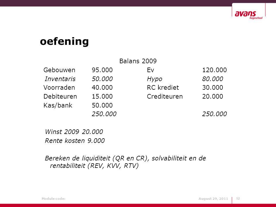 oefening Balans 2009 Gebouwen 95.000 Ev 120.000
