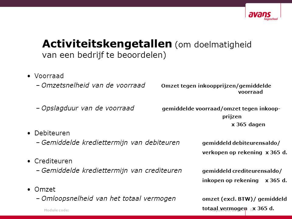 Activiteitskengetallen (om doelmatigheid van een bedrijf te beoordelen)