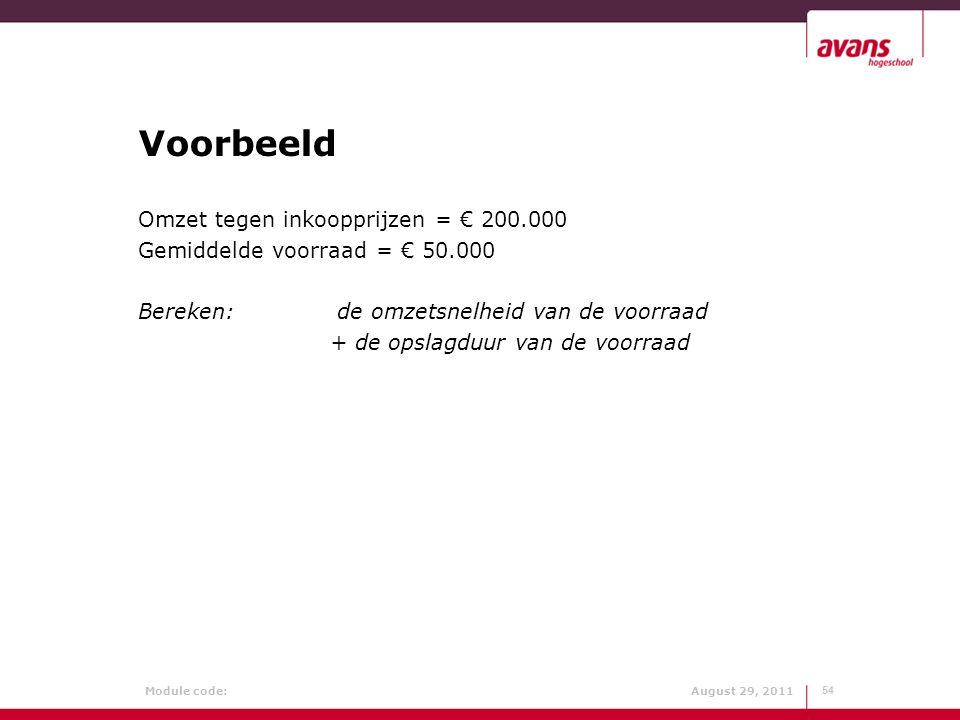 Voorbeeld Omzet tegen inkoopprijzen = € 200.000