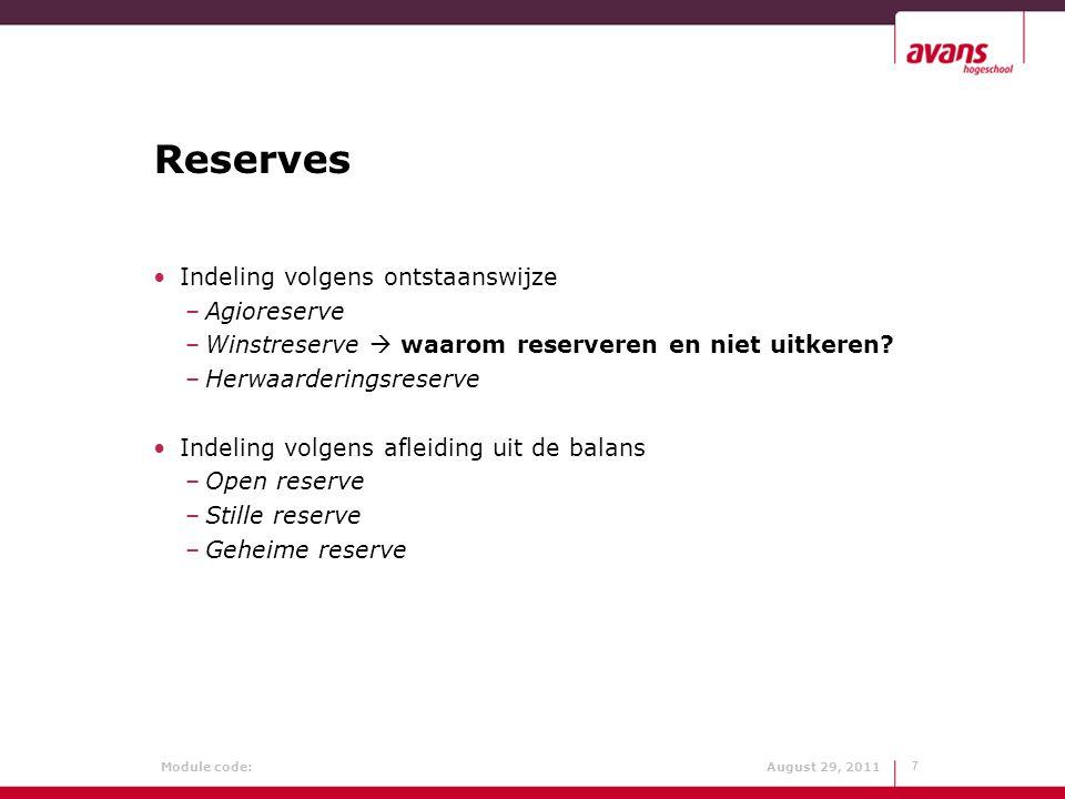 Reserves Indeling volgens ontstaanswijze Agioreserve