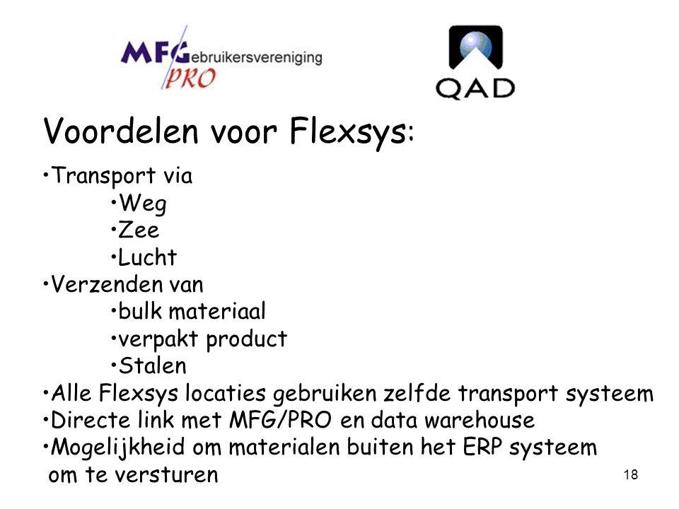 Voordelen voor Flexsys: