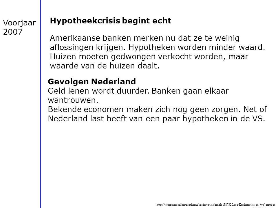 Hypotheekcrisis begint echt Voorjaar 2007
