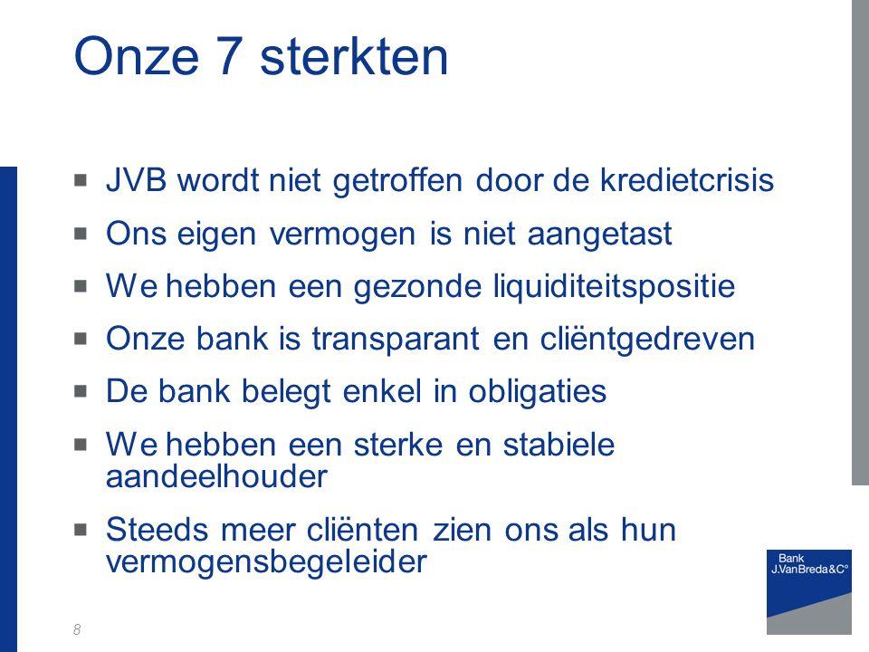 Onze 7 sterkten JVB wordt niet getroffen door de kredietcrisis