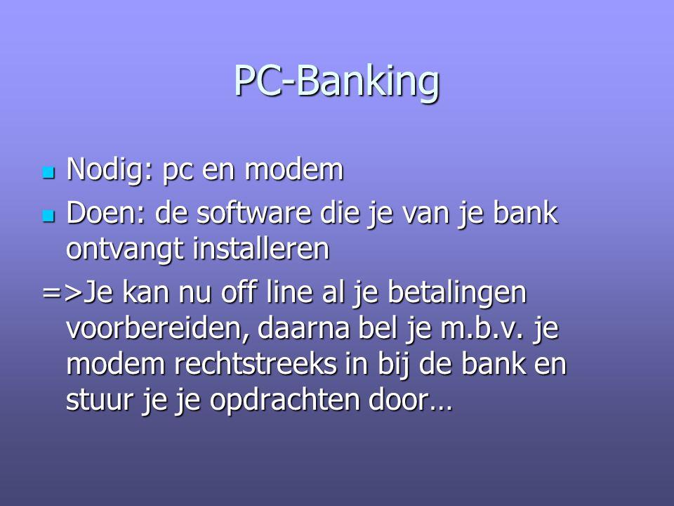 PC-Banking Nodig: pc en modem