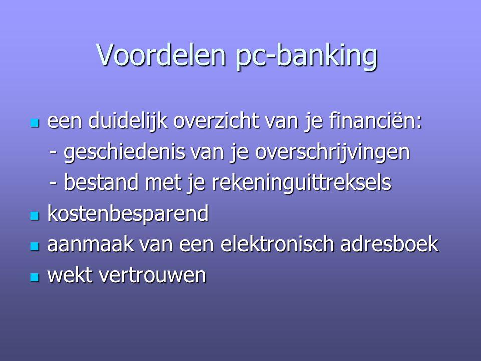 Voordelen pc-banking een duidelijk overzicht van je financiën: