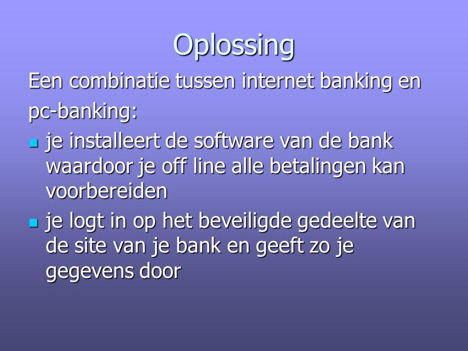 Oplossing Een combinatie tussen internet banking en pc-banking: