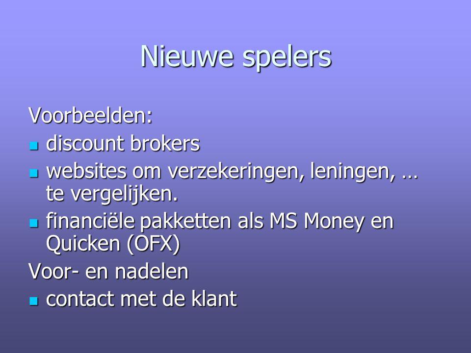 Nieuwe spelers Voorbeelden: discount brokers