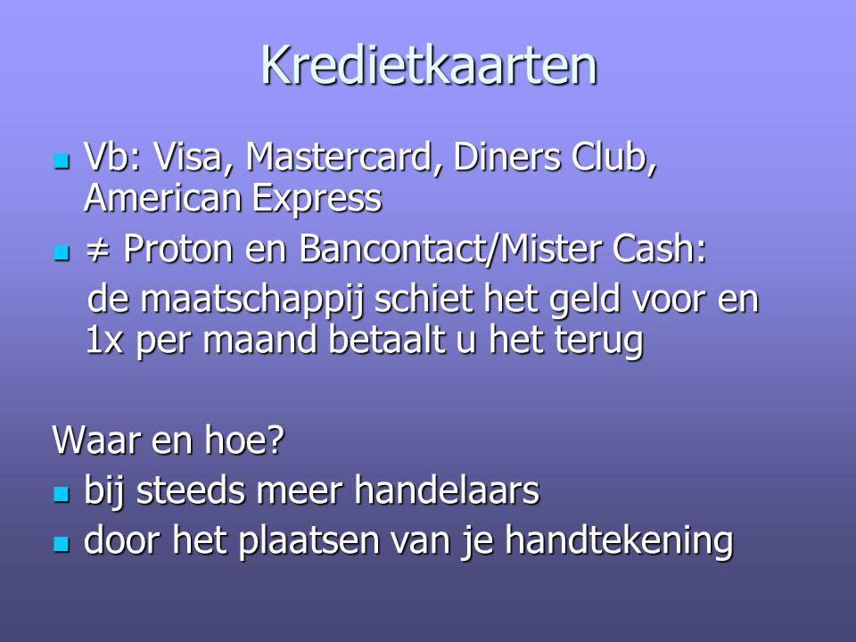 Kredietkaarten Vb: Visa, Mastercard, Diners Club, American Express