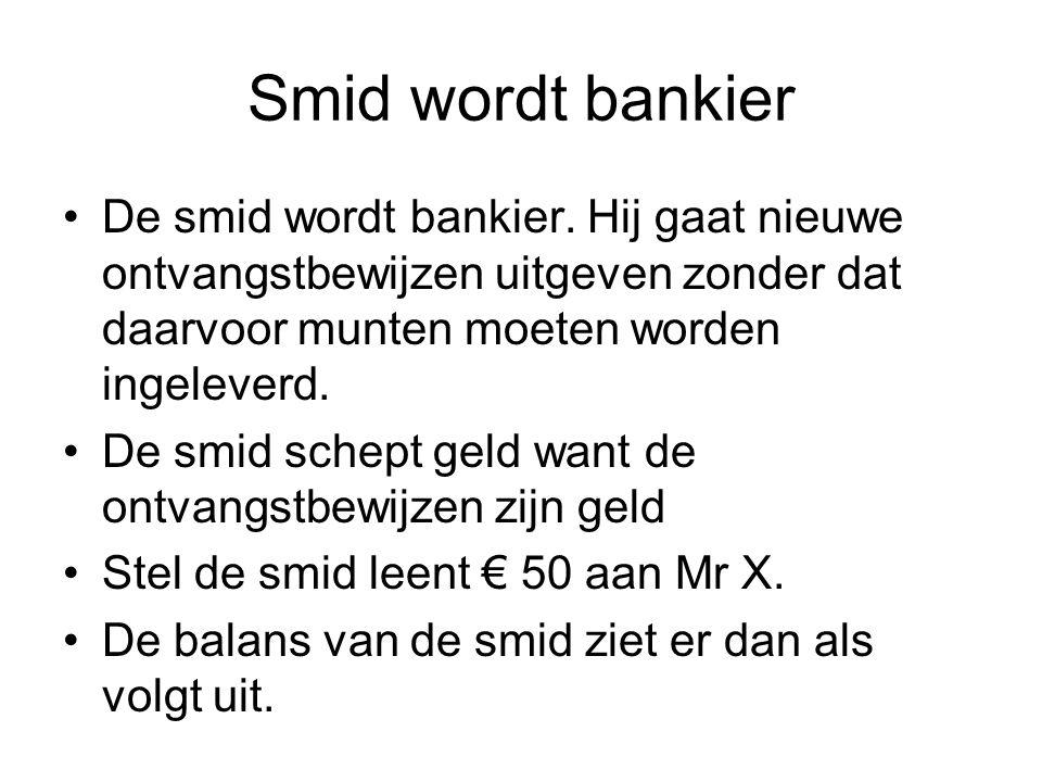 Smid wordt bankier De smid wordt bankier. Hij gaat nieuwe ontvangstbewijzen uitgeven zonder dat daarvoor munten moeten worden ingeleverd.