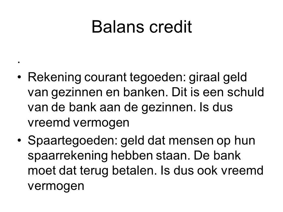 Balans credit . Rekening courant tegoeden: giraal geld van gezinnen en banken. Dit is een schuld van de bank aan de gezinnen. Is dus vreemd vermogen.