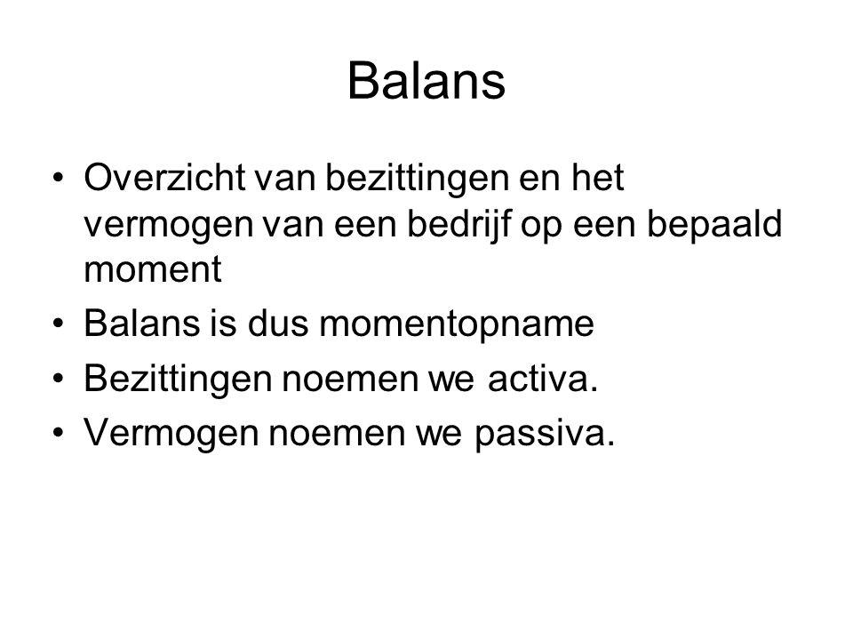 Balans Overzicht van bezittingen en het vermogen van een bedrijf op een bepaald moment. Balans is dus momentopname.