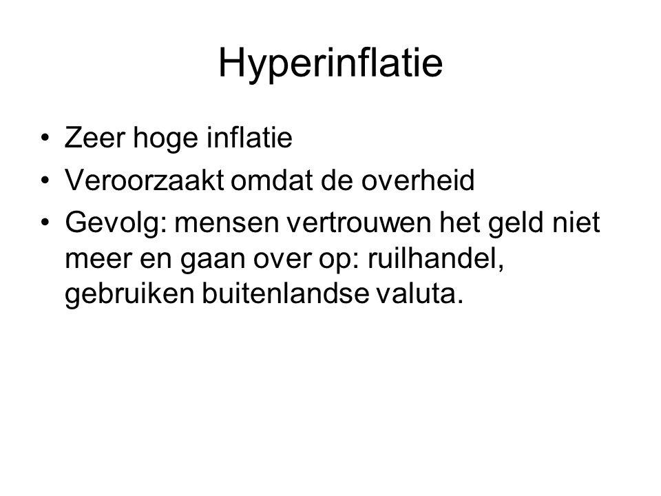 Hyperinflatie Zeer hoge inflatie Veroorzaakt omdat de overheid