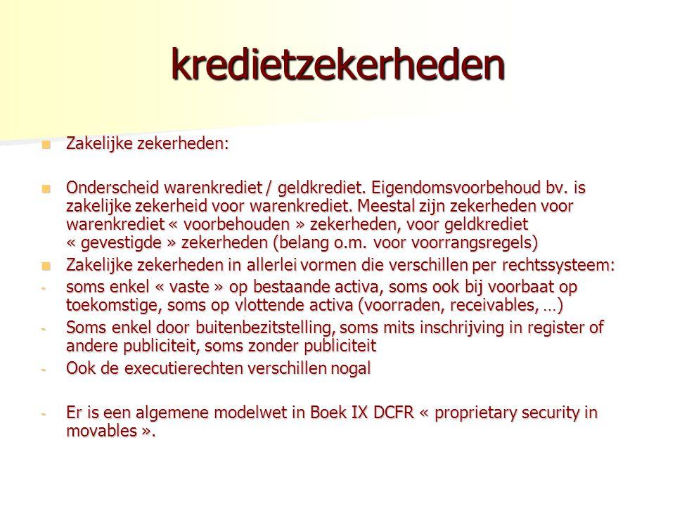 kredietzekerheden Zakelijke zekerheden: