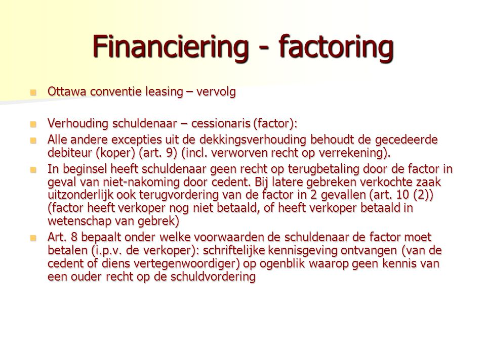 Financiering - factoring
