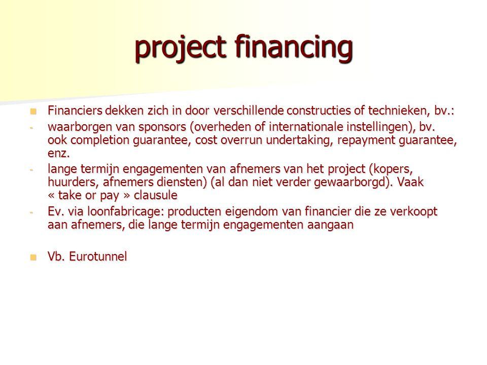 project financing Financiers dekken zich in door verschillende constructies of technieken, bv.: