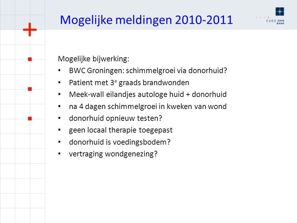 Mogelijke meldingen 2010-2011 Mogelijke bijwerking: