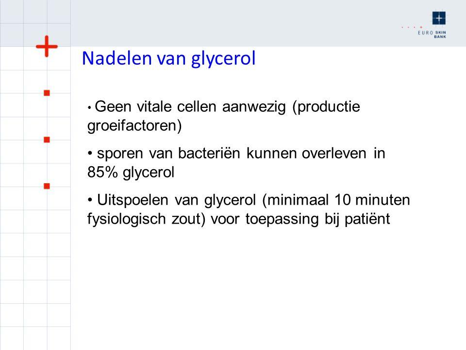 Nadelen van glycerol Geen vitale cellen aanwezig (productie groeifactoren) sporen van bacteriën kunnen overleven in 85% glycerol.
