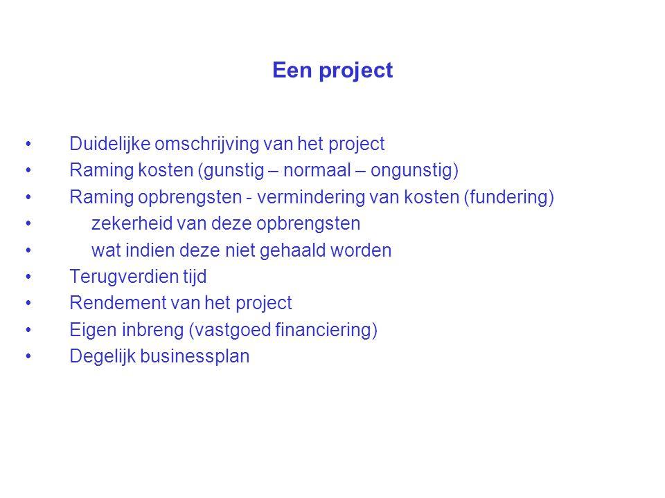Een project Duidelijke omschrijving van het project