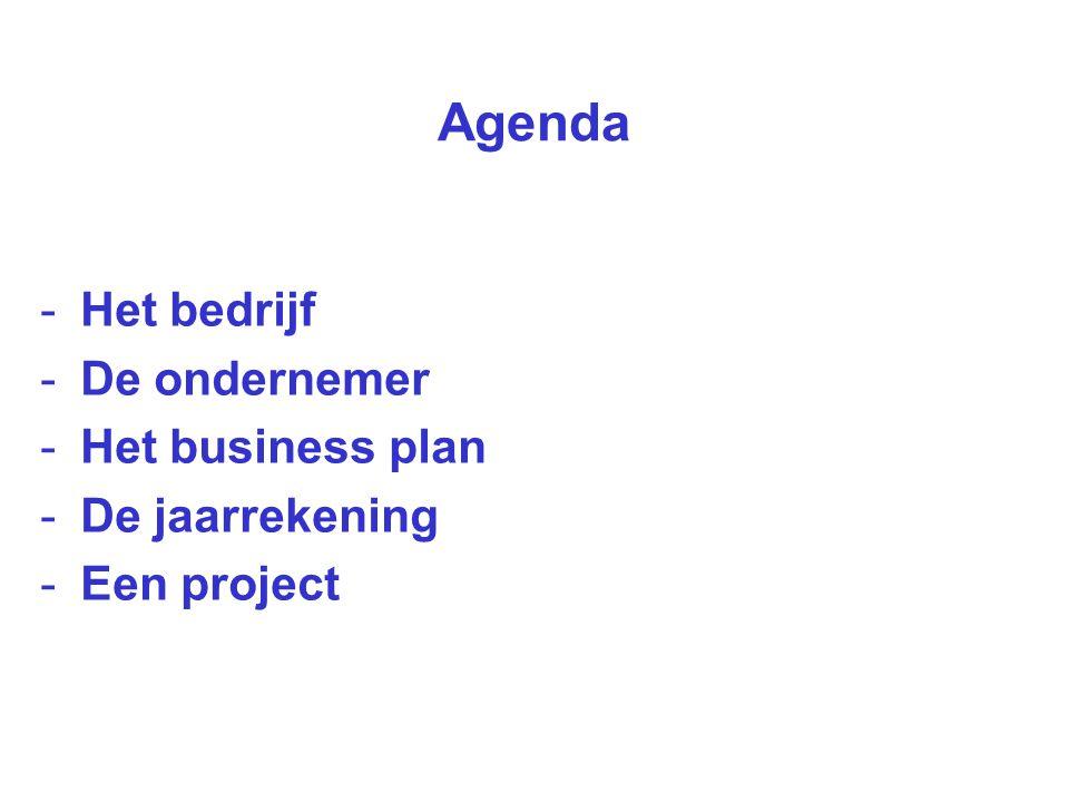 Agenda Het bedrijf De ondernemer Het business plan De jaarrekening