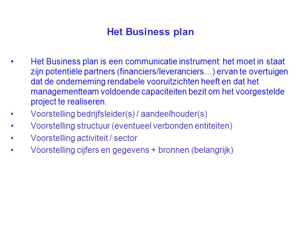 Het Business plan
