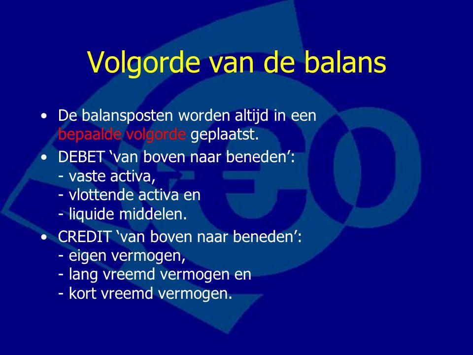 Volgorde van de balans De balansposten worden altijd in een bepaalde volgorde geplaatst.