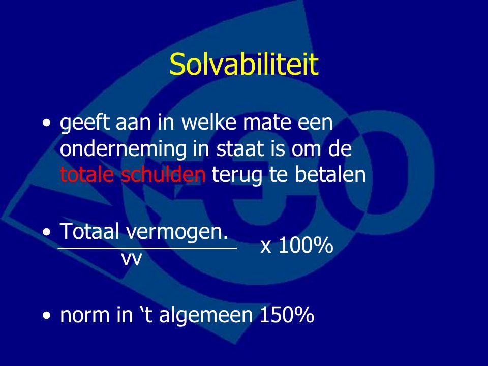 Solvabiliteit geeft aan in welke mate een onderneming in staat is om de totale schulden terug te betalen.