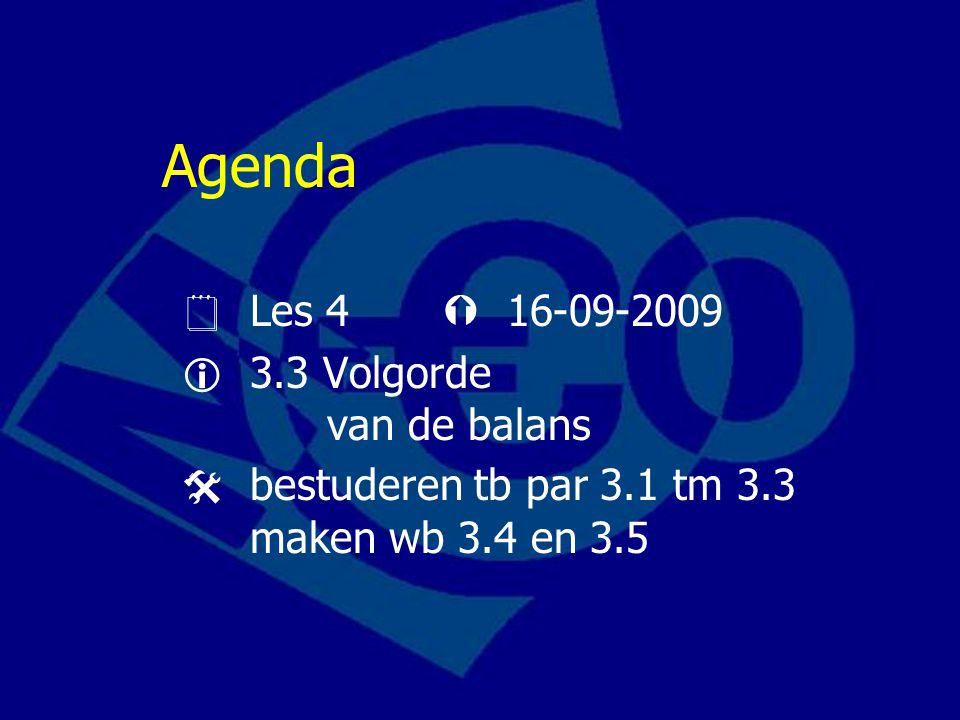 Agenda  Les 4  16-09-2009  3.3 Volgorde van de balans