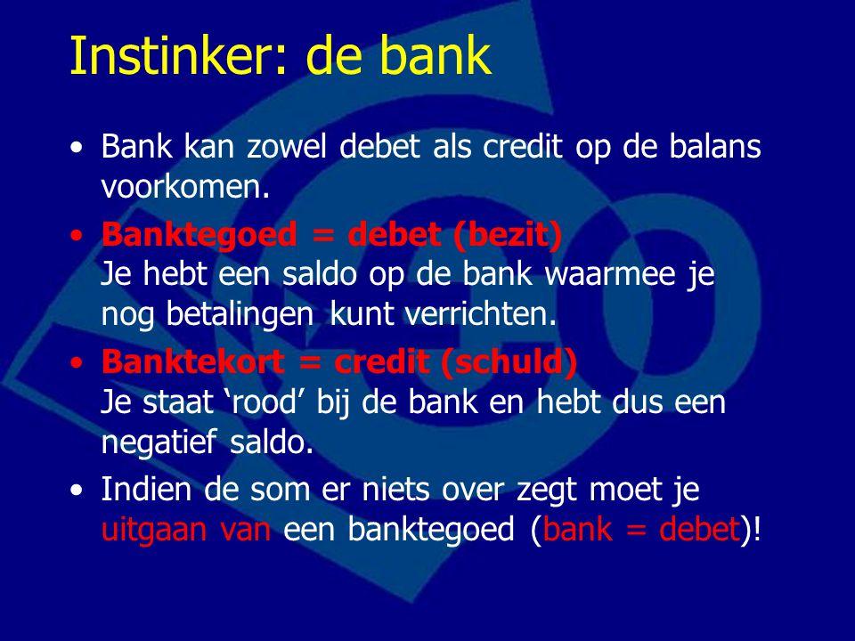 Instinker: de bank Bank kan zowel debet als credit op de balans voorkomen.