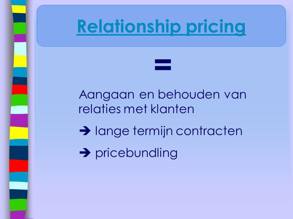 = Relationship pricing Aangaan en behouden van relaties met klanten