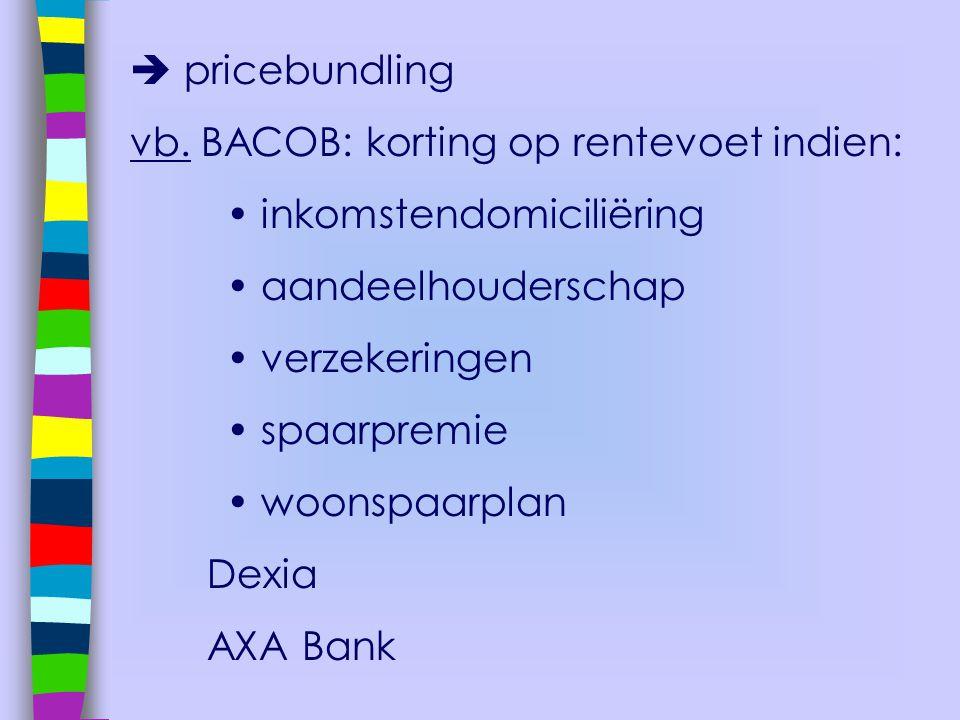  pricebundling vb. BACOB: korting op rentevoet indien: • inkomstendomiciliëring. • aandeelhouderschap.