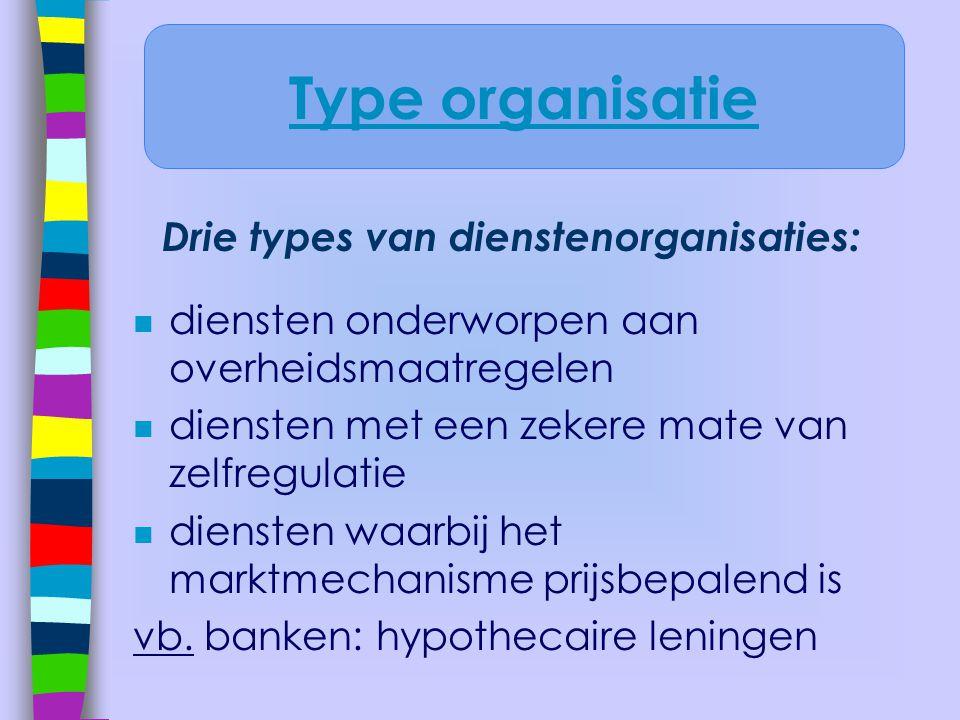 Drie types van dienstenorganisaties:
