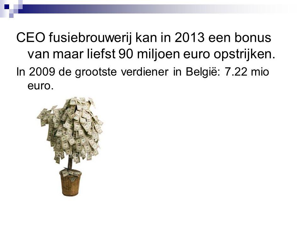 CEO fusiebrouwerij kan in 2013 een bonus van maar liefst 90 miljoen euro opstrijken.