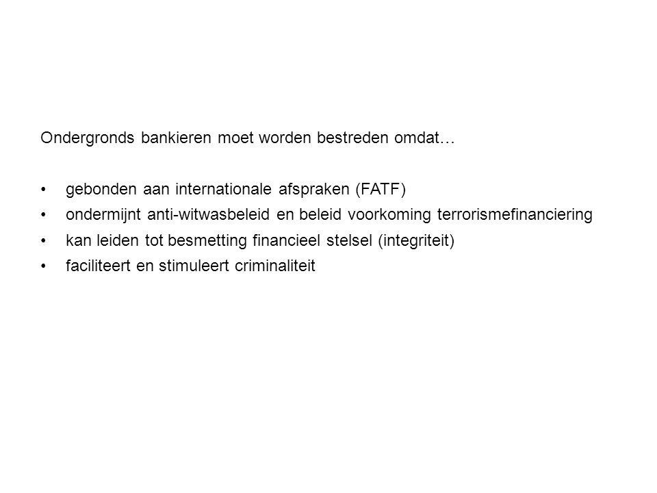 Ondergronds bankieren moet worden bestreden omdat…