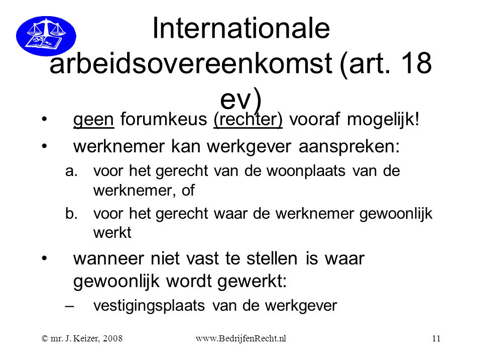 Internationale arbeidsovereenkomst (art. 18 ev)