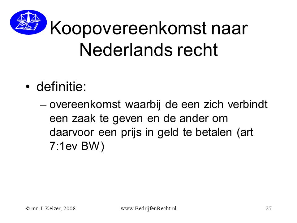 Koopovereenkomst naar Nederlands recht