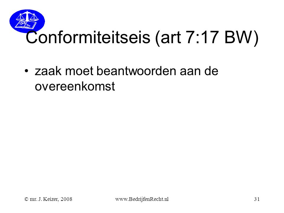 Conformiteitseis (art 7:17 BW)