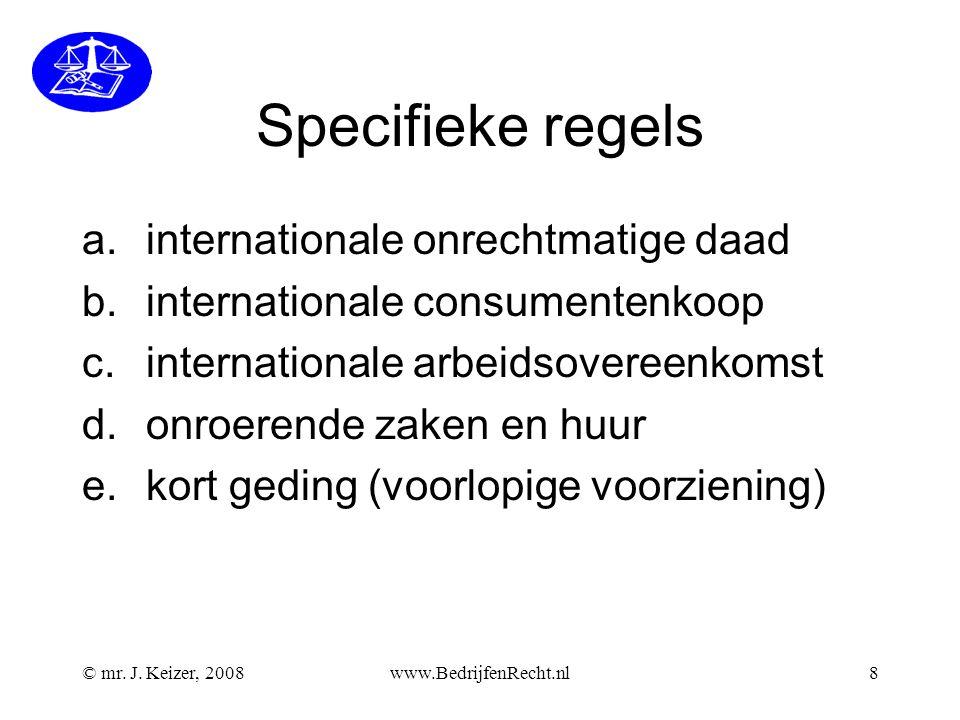Specifieke regels internationale onrechtmatige daad