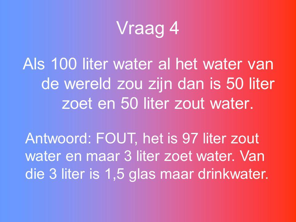 Vraag 4 Als 100 liter water al het water van de wereld zou zijn dan is 50 liter zoet en 50 liter zout water.